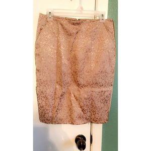 Velvet Pink Pencil Skirt with Pockets